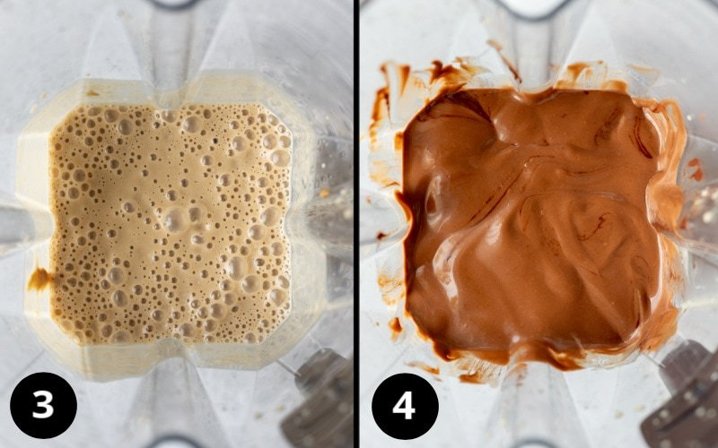 2 steps of blending the ice cream mixture
