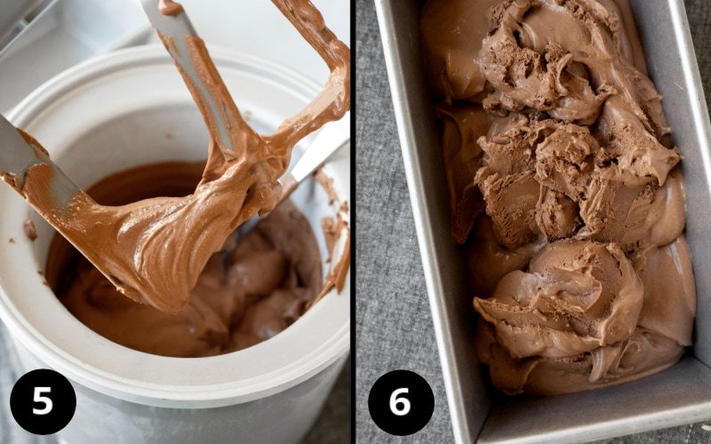 2 photos showing straight out of ice cream maker and putting in a loaf pan to freeze