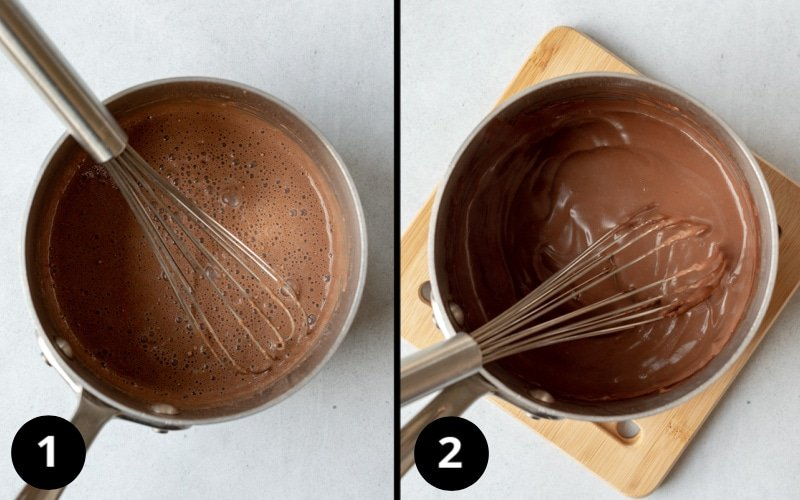 2 photos showing heating milk and corn starch for creamy ice cream texture