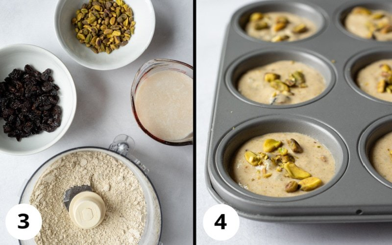 2 photos showing wet and dry ingredients before combining, then poured into muffin pan
