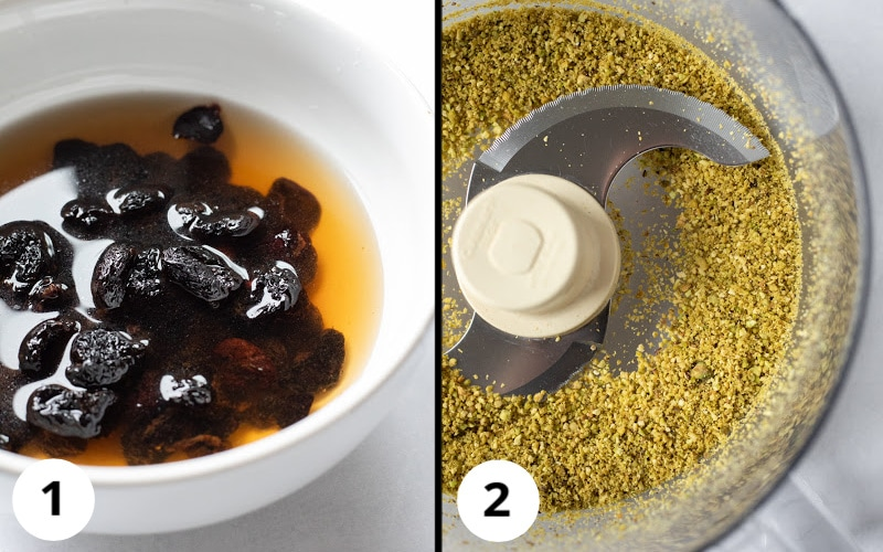 2 photo collage showing soaking dried cherries and pulsing pistachios into crumbs