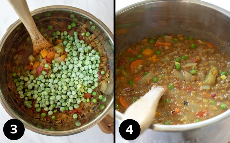 2 photos showing adding peas and peanut butter/broth mixture after cooking