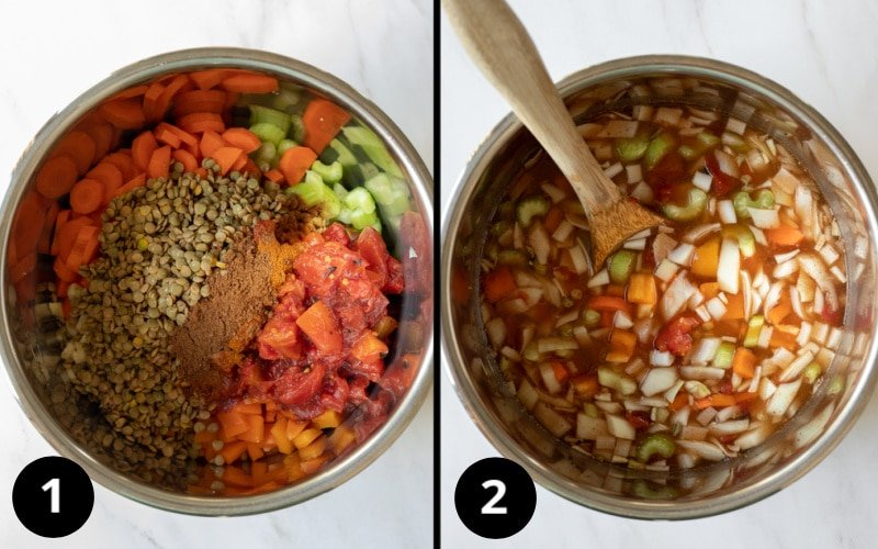 2 photos showing how easy it is to add ingredients to the Instant Pot