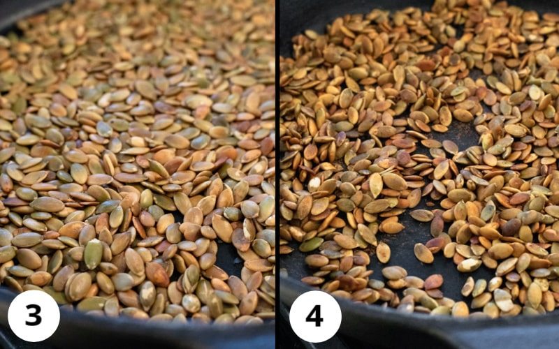 2 photos showing seeds fully toasted then with tamari added to pan