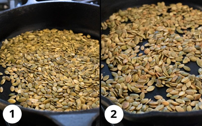 2 photos showing progression of color while toasting seeds in cast iron pan