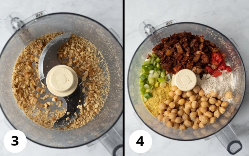 2 photos showing stages of pulsing ingredients in food processor