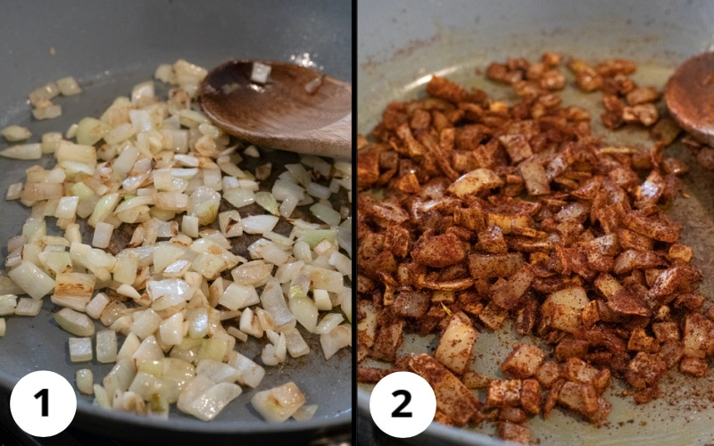 2 photos showing sautéing of onion, garlic, and spices