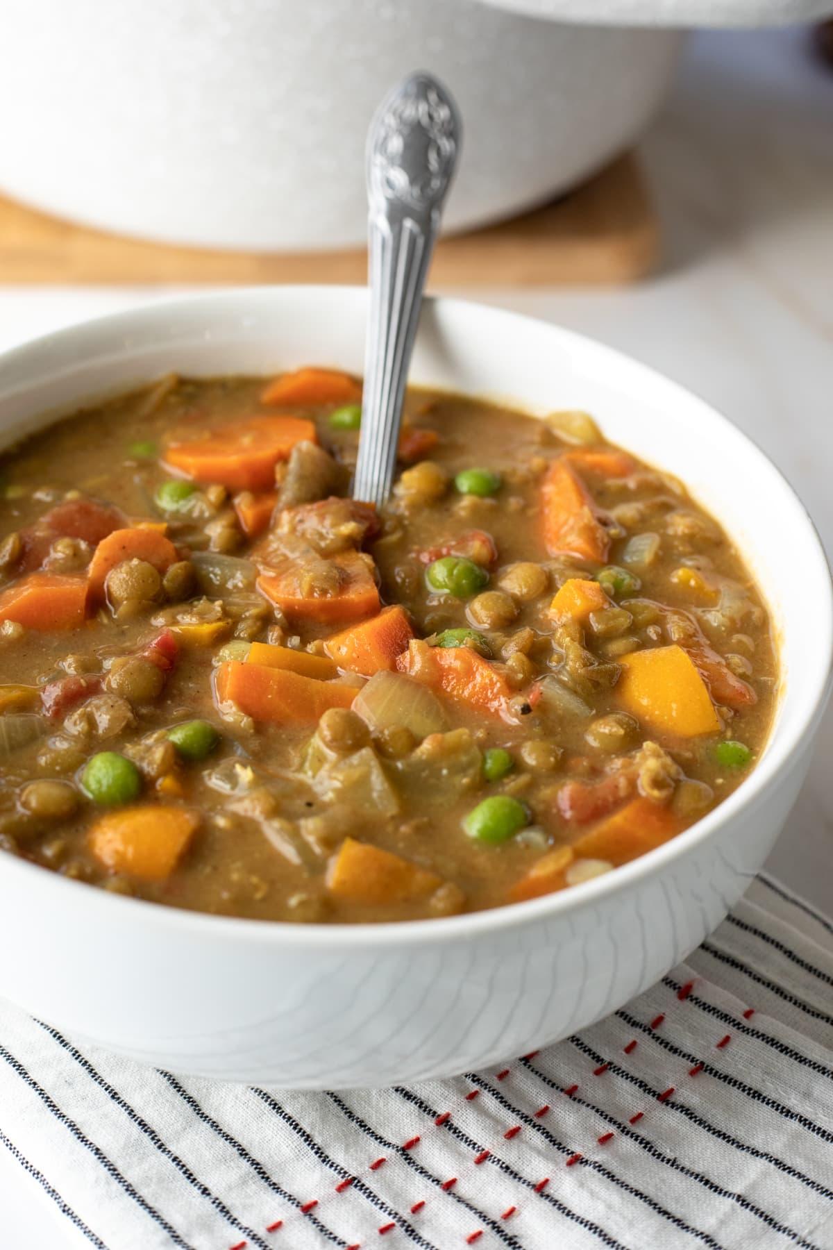 bowl of creamy peanut lentil soup