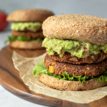 close up of chickpea burgers with fixings