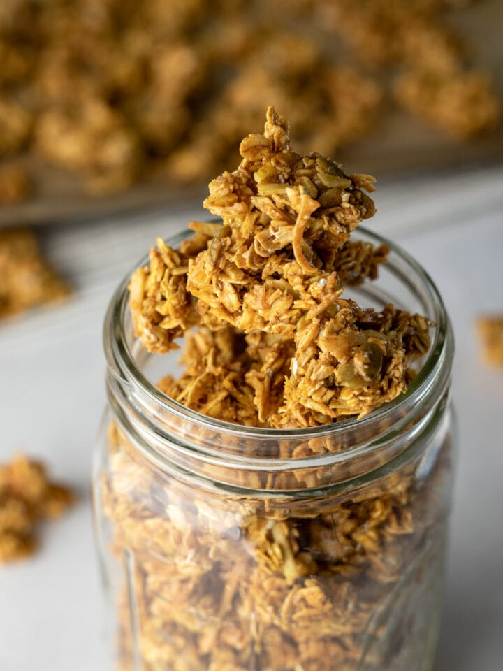 jar of golden granola clusters