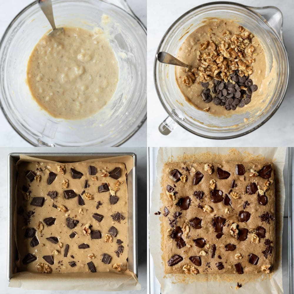 4-photo collage of mixing batter, pouring into pan, topping with chocolate and walnuts, and cooling