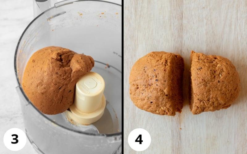 2 photos showing texture of seitan dough after blending