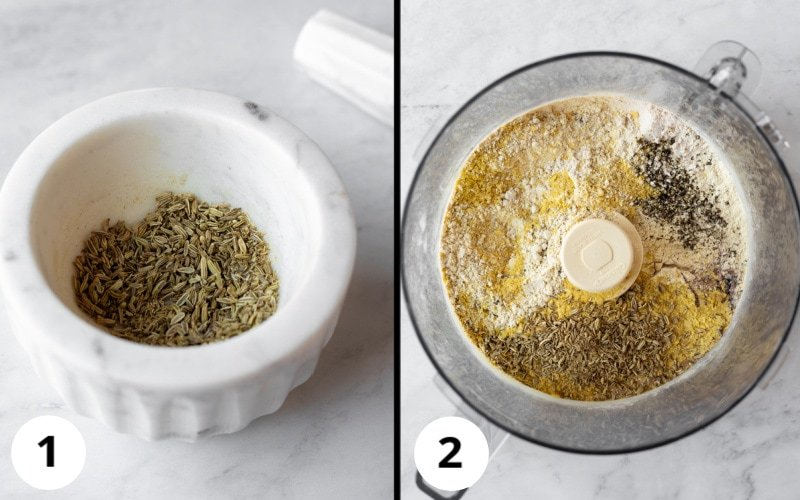 2 photos showing crushing fennel seeds, then combining dry ingredients in food processor.