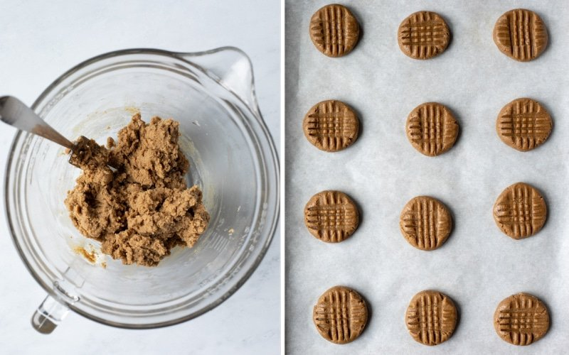 2 photos showing consistency of dough and cookies on tray ready to be baked