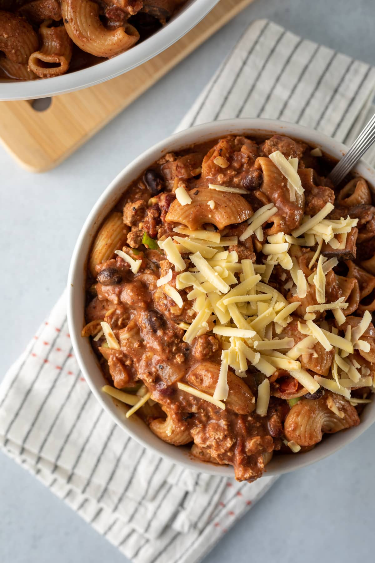 close up of beefy macaroni in a bowl