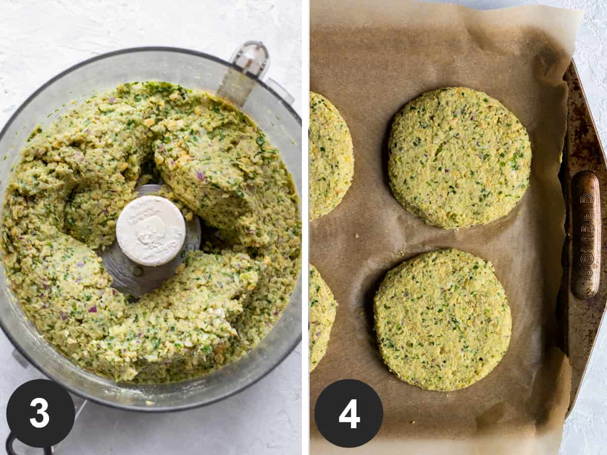 two photos showing blended bean mixture inside food processor then patties resting on baking sheet