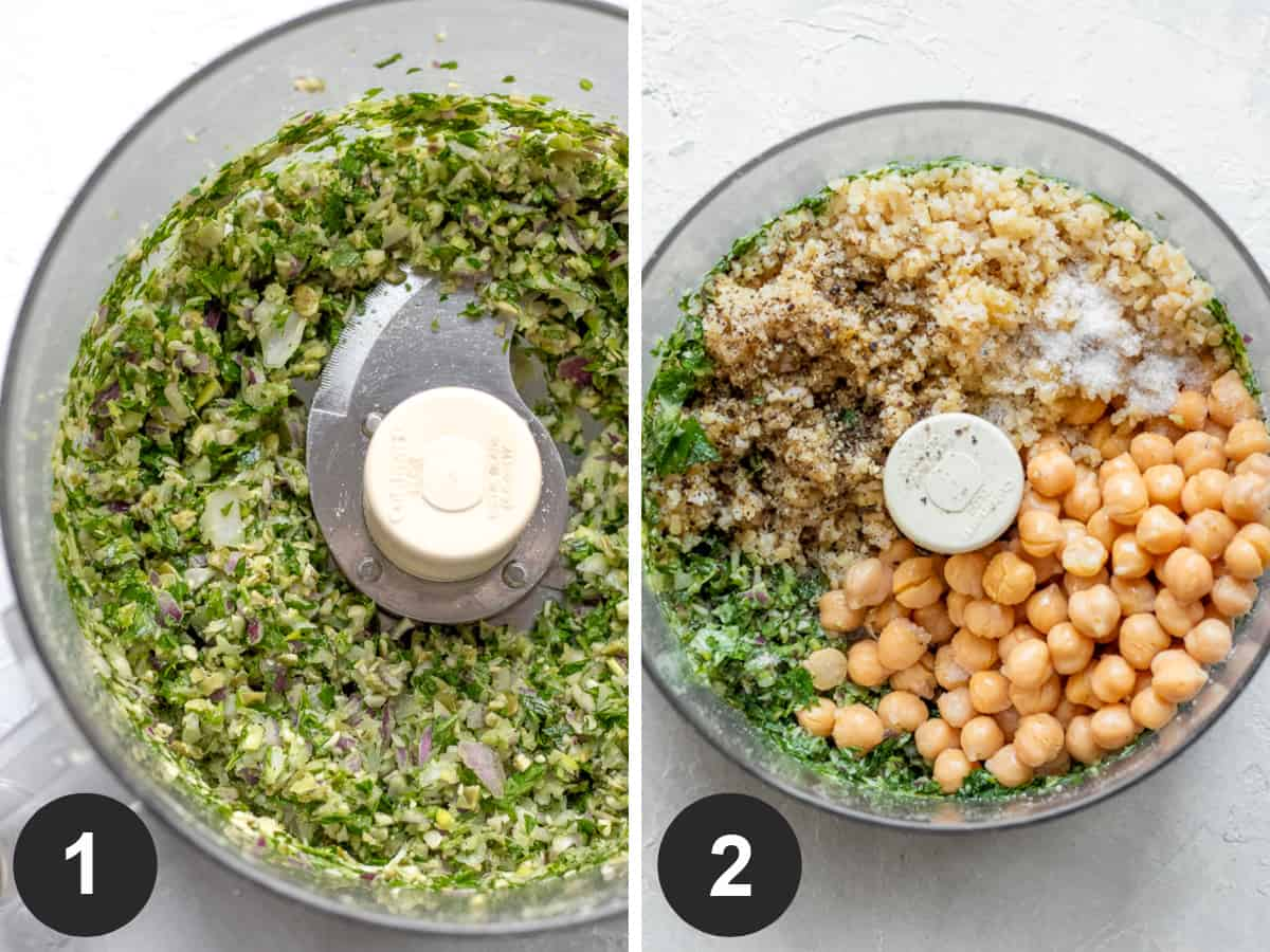 two photos showing herbs and seeds in food processor, then adding remaining ingredients.