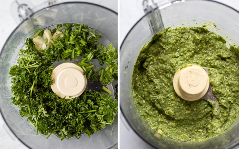 2 photos showing ingredients being blended in food processor