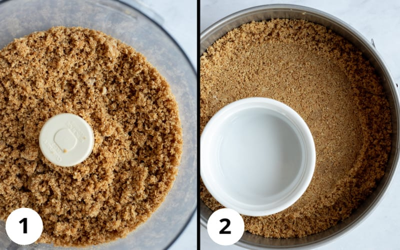 2-photos showing texture of graham cracker crust in food processor and pressed into pan