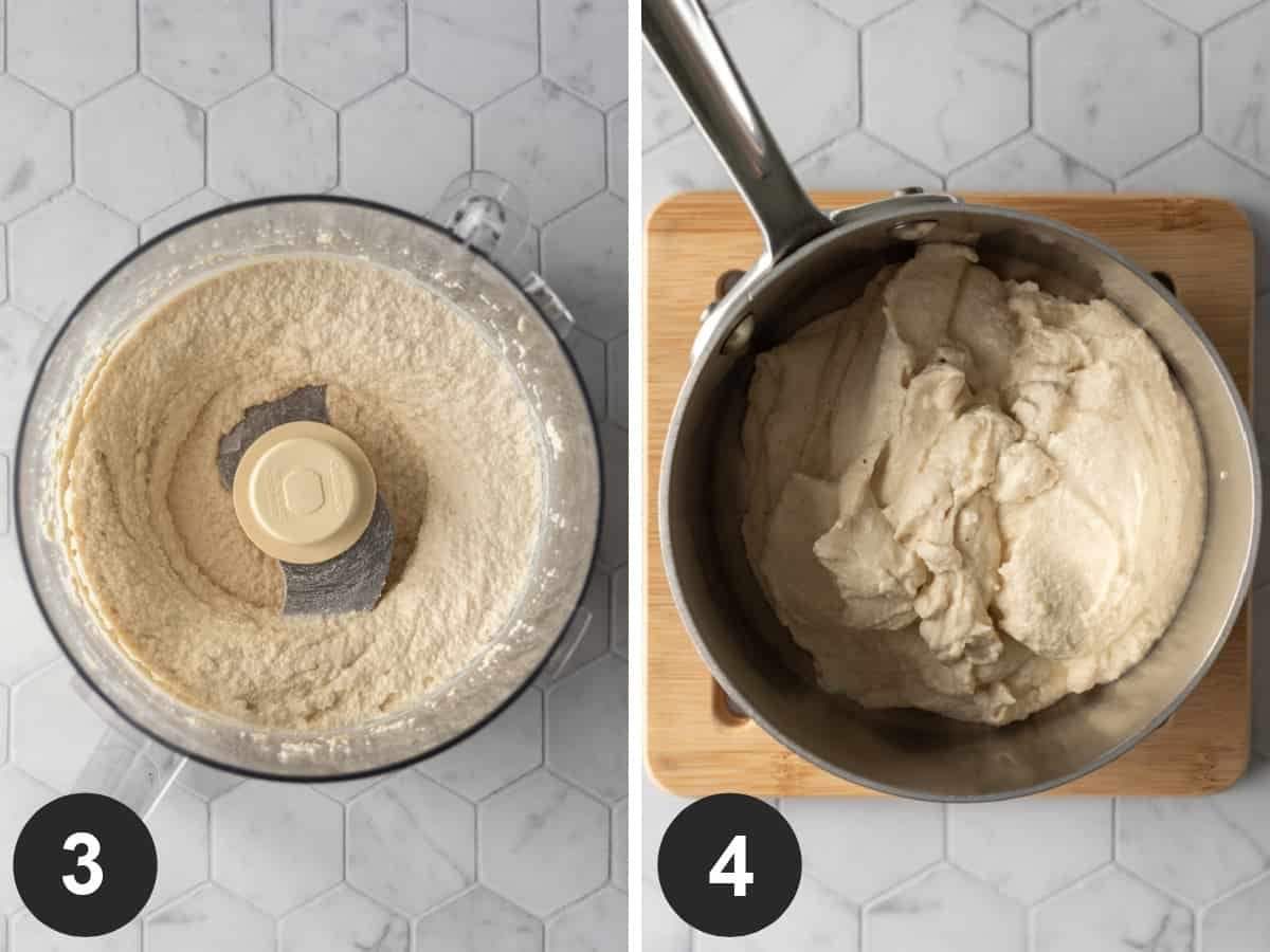 2-photos showing blended cheese mixture in food processor and a saucepan.