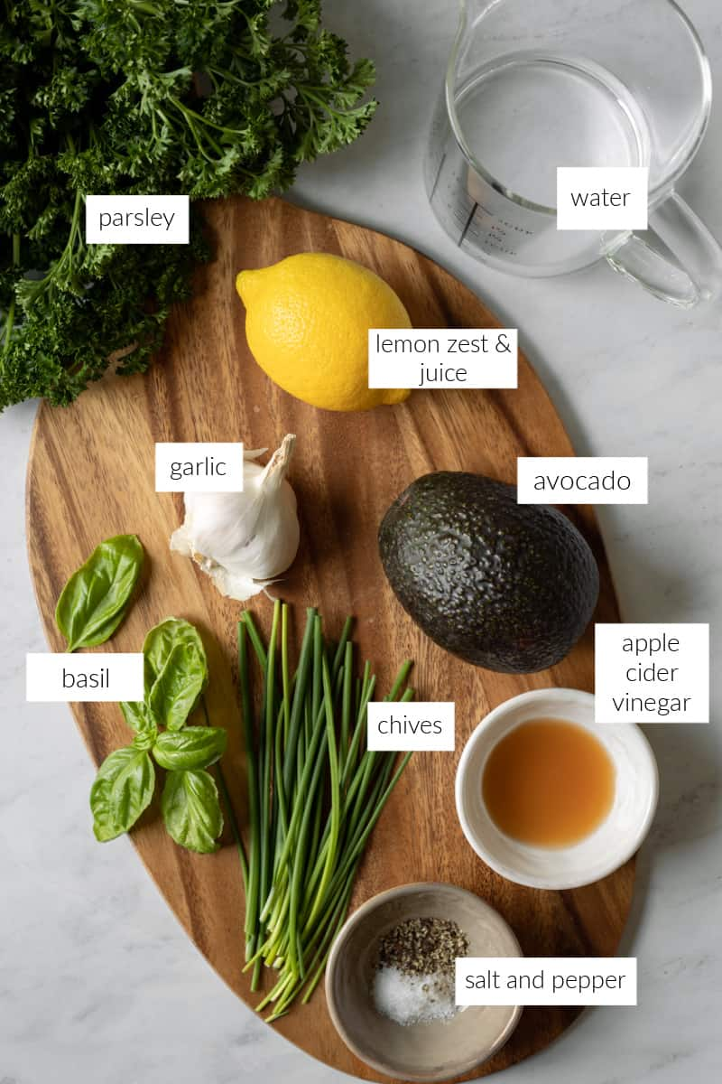 labeled photo of ingredients needed