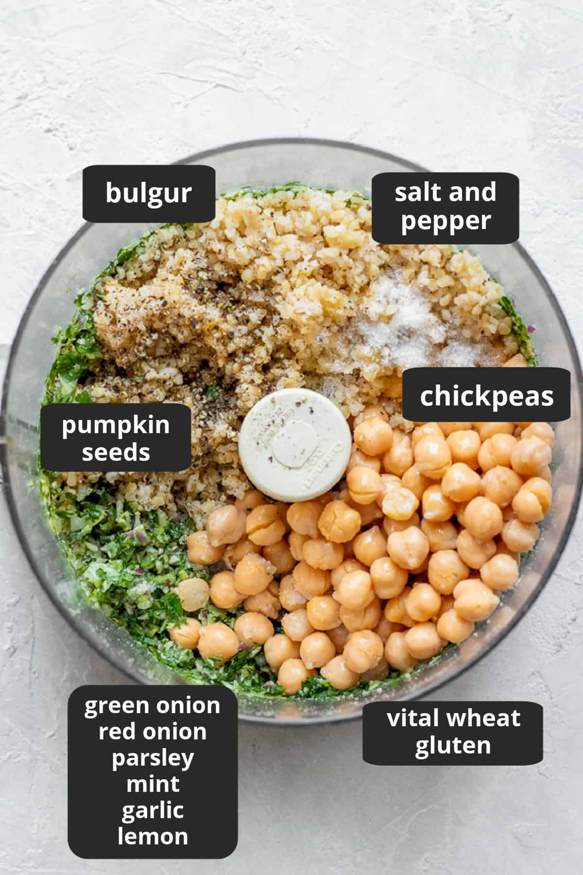 labeled photo of ingredients inside food processor bowl.