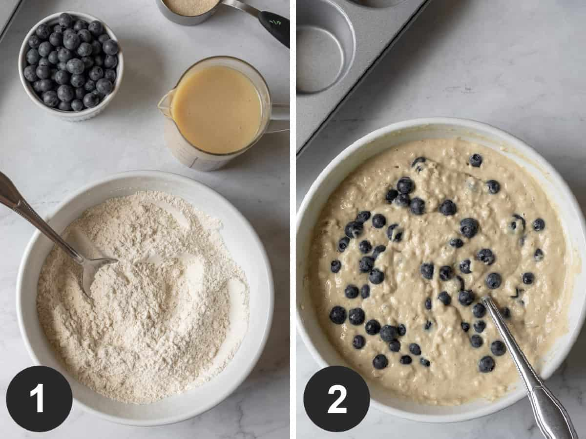 2-photo collage showing steps of mixing batter.