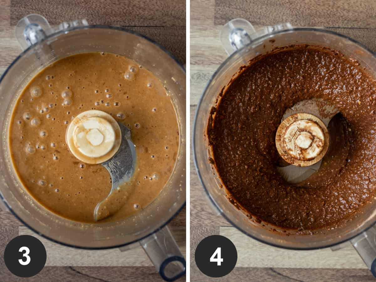 Two-photo collage showing blending wet ingredients and batter in food processor.