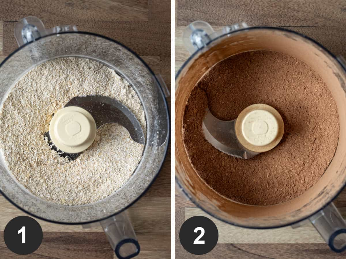 Two-photo collage showing blended oats plus other dry ingredients in food processor.