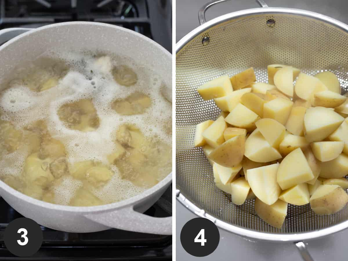two photos showing cooking potatoes then draining in a colander.