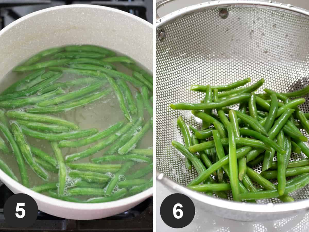 two-photo collage of cooking green beans then draining in a colander.