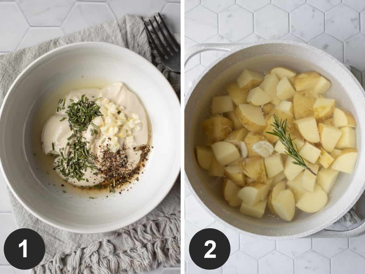 two photos showing making rosemary mayo in a bowl, then covering potatoes with water in a pot.