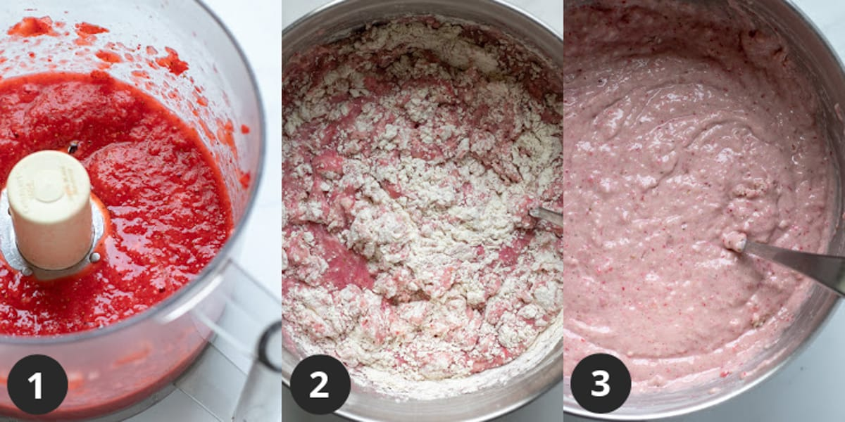 3-photo collage showing strawberry puree and stirring together cake batter.