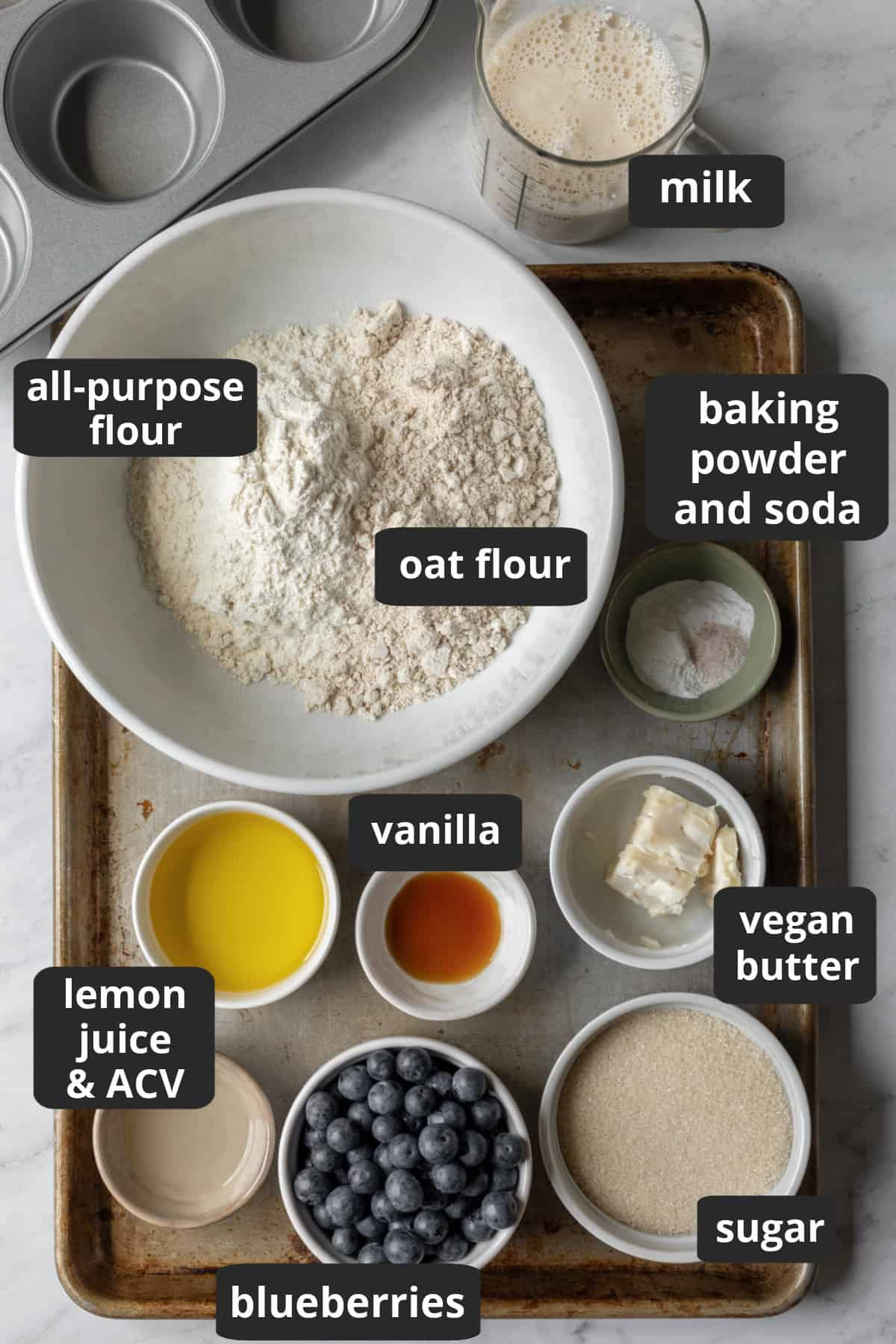 labeled photo of the 11 ingredients needed to make blueberry muffins.