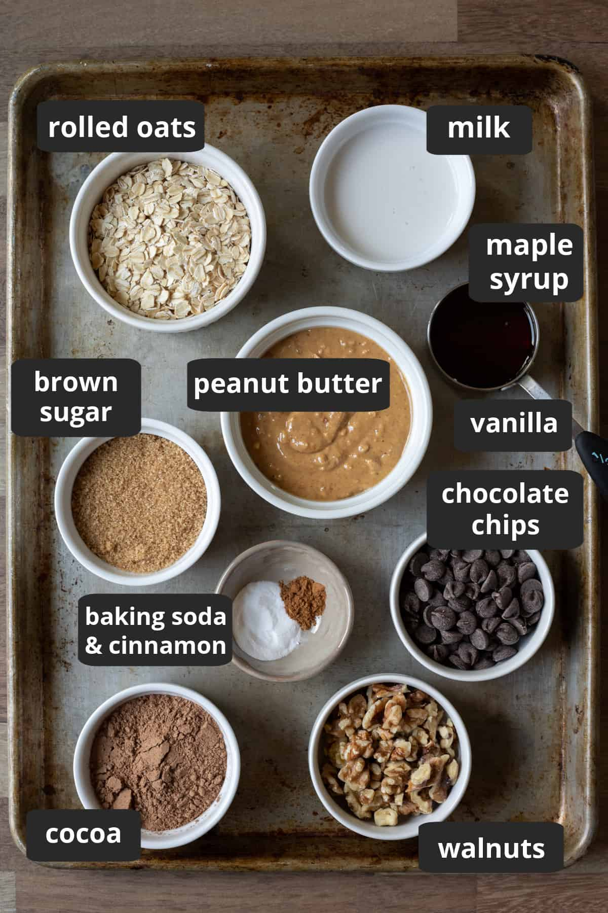 labeled photo of ingredients laid out on a large baking sheet.