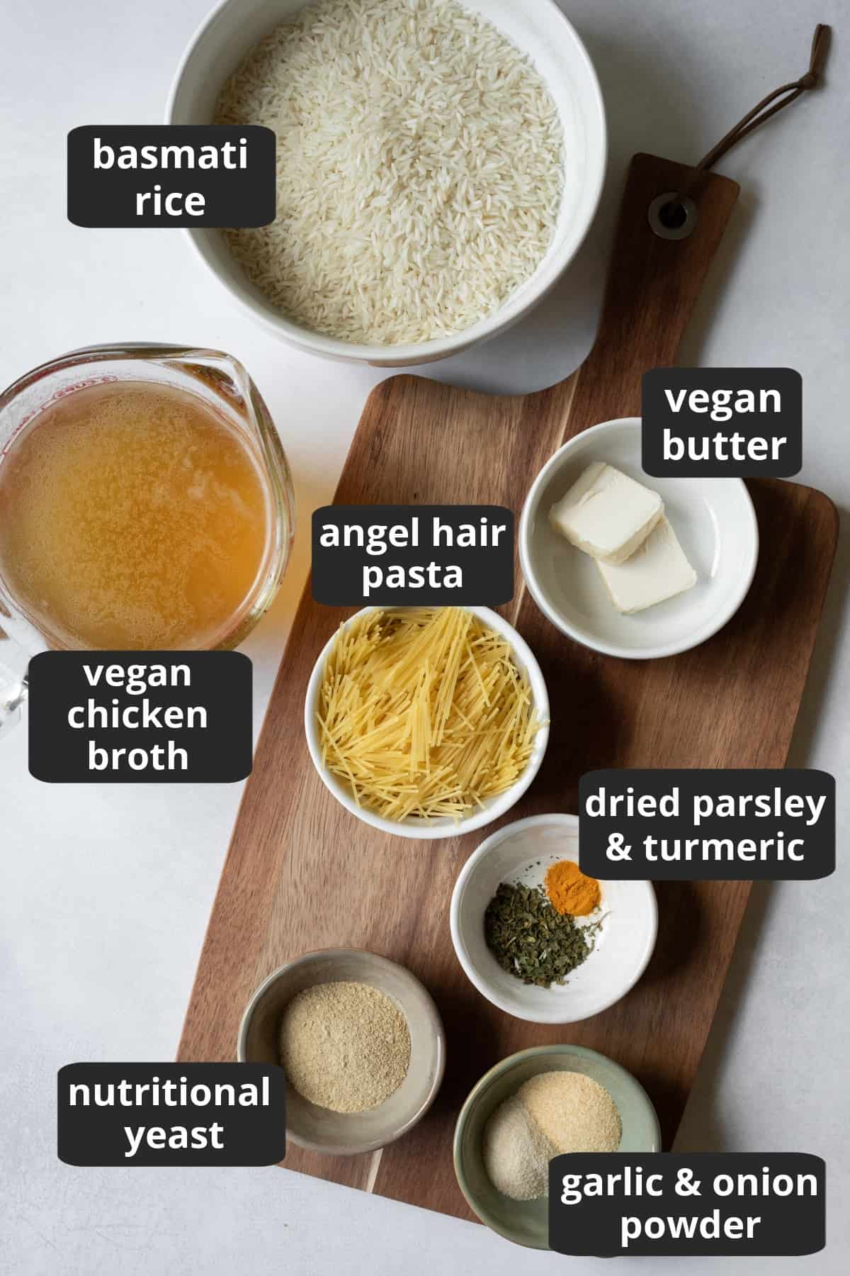 labeled photo of the 9 ingredients needed to make vegan rice-a-roni.