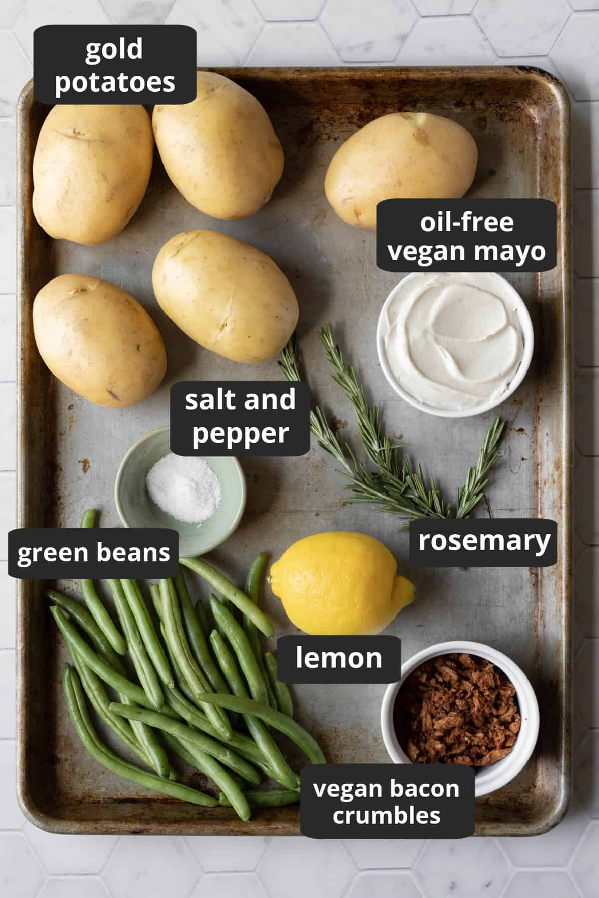 labeled photo of ingredients laid out on a large sheet pan