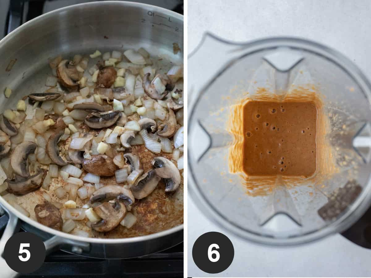 two photos showing sautéing onion and mushroom then blending wet ingredients.