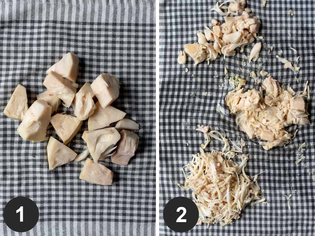 two-photo collage showing how to prepare jackfruit for vegan ribs.
