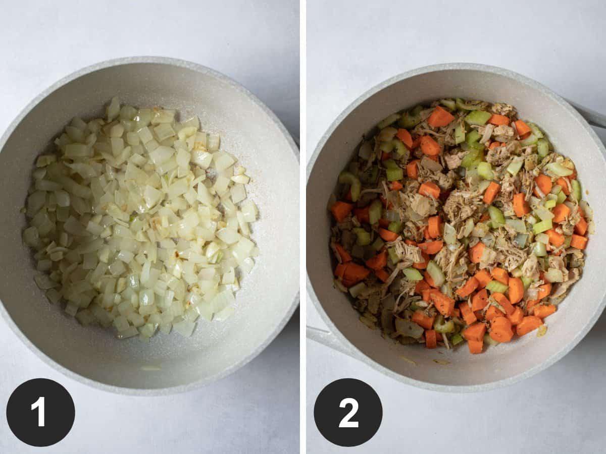 2-photo collage showing sautéing aromatics, herbs, and jackfruit.