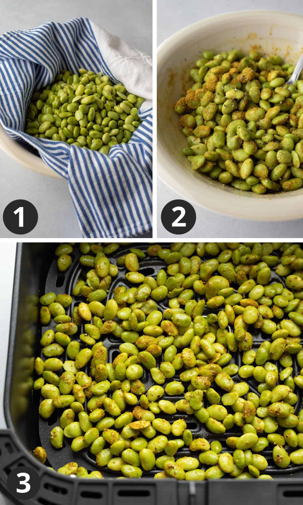 3-photo collage showing drying the beans, adding seasoning, and inside air fryer basket.