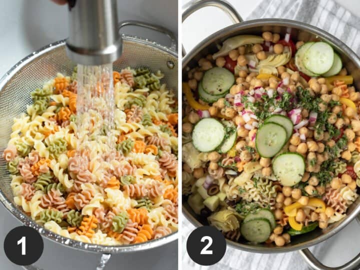 2-photo collage showing rinsing cooked pasta and combining all ingredients.
