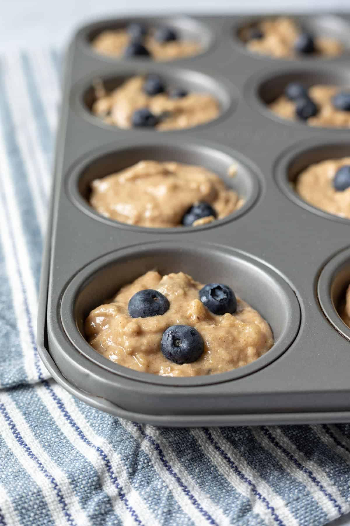 unbaked muffin batter in standard muffin pan.