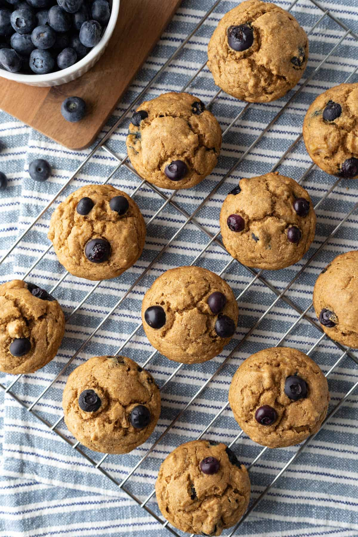 overhead of a dozen muffins on a cooling rack surrounded by fresh blueberries.
