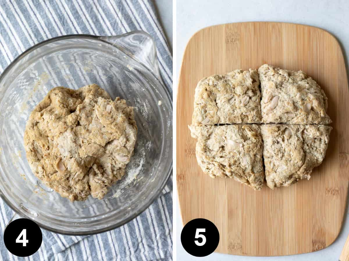 2-photo collage demonstrating how to form the seitan dough.