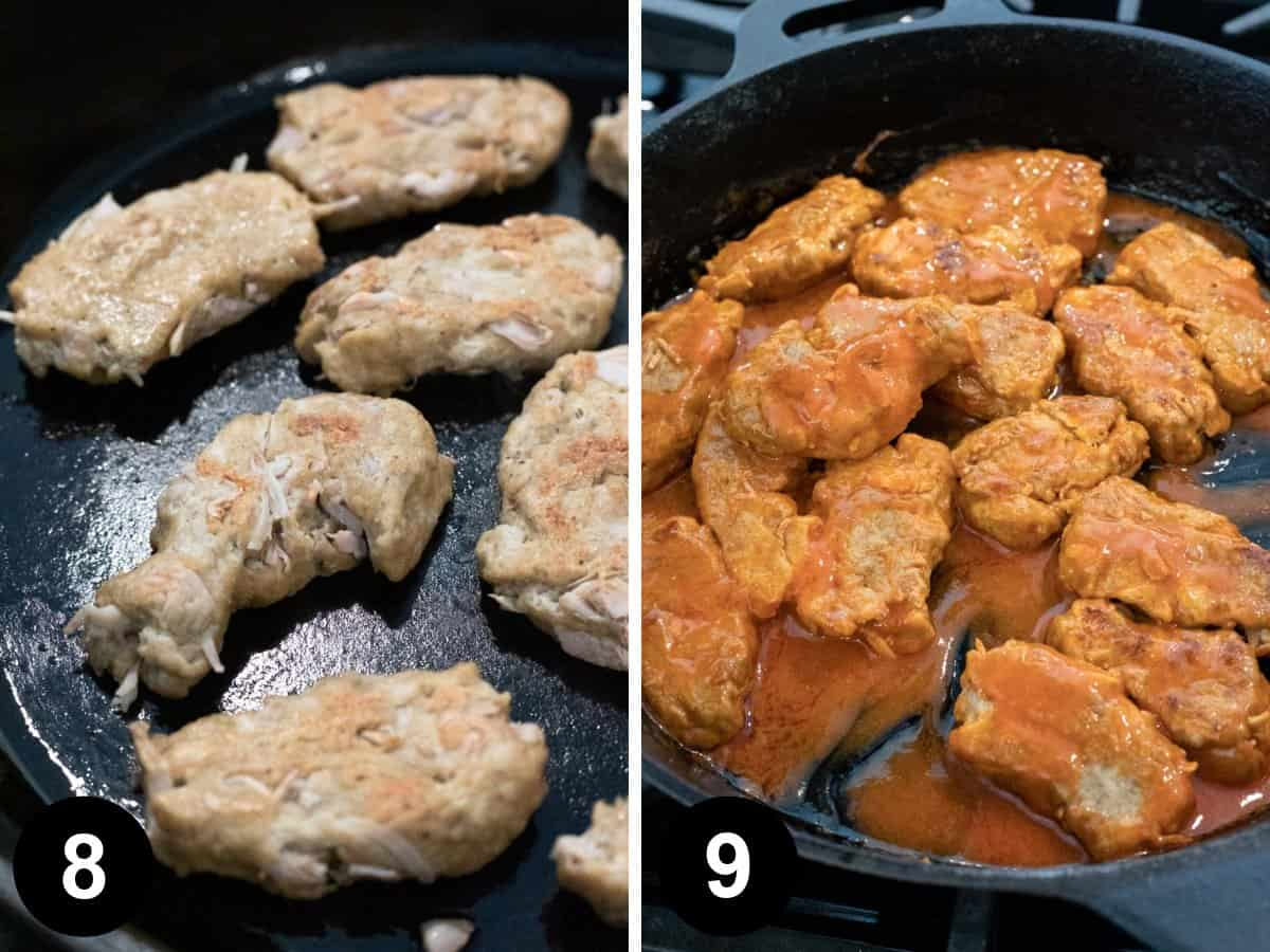 two photos showing how to sear the seitan wings then coat in buffalo sauce.