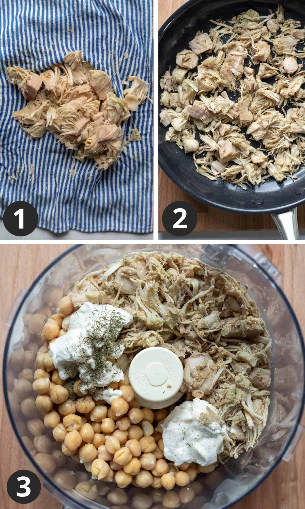 3-photo collage showing how to prepare jackfruit plus all ingredients in food processor.