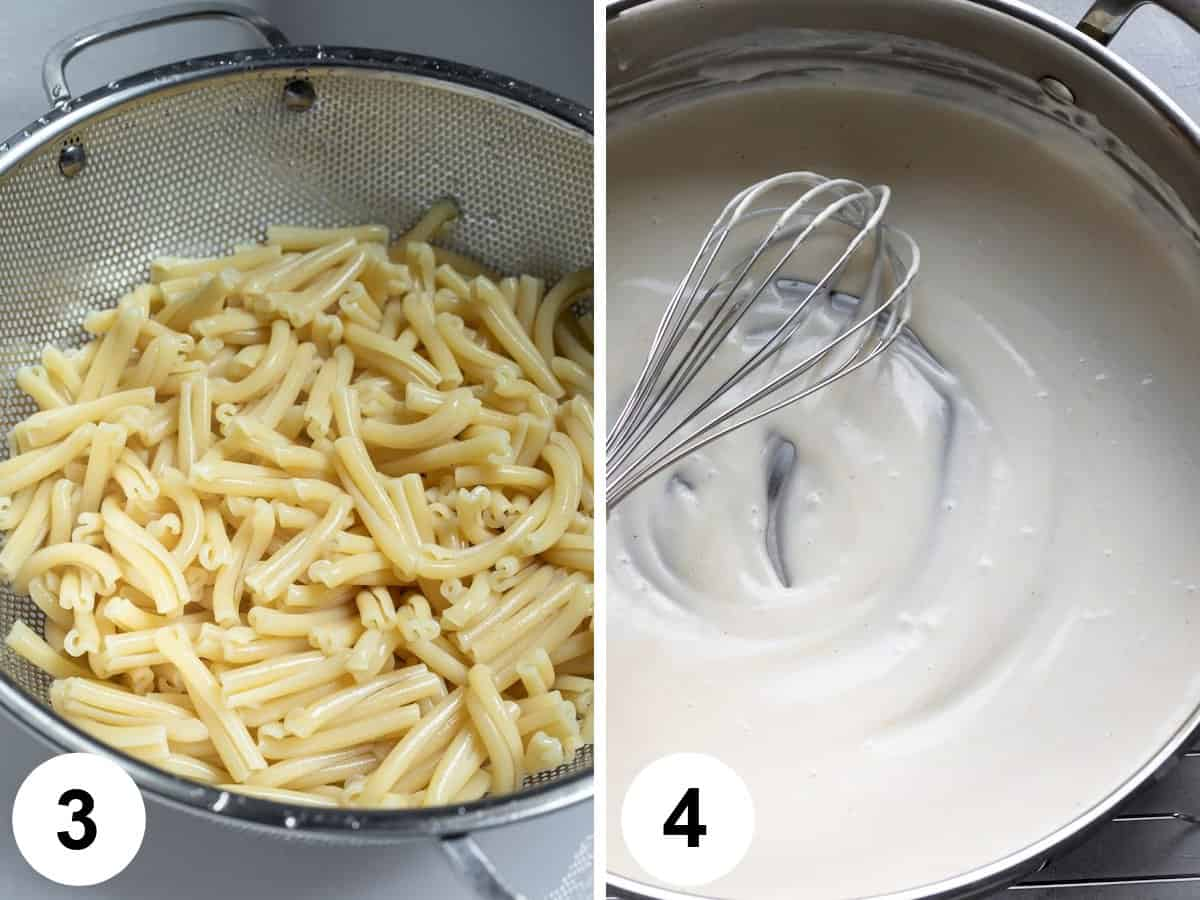 2-photo collage showing draining pasta and heating sauce.