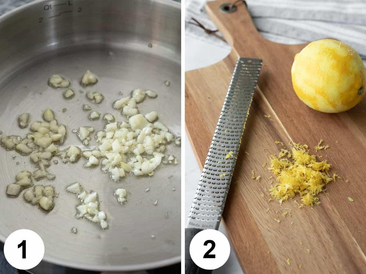 2-photo collage showing sautéing garlic and zesting lemon.