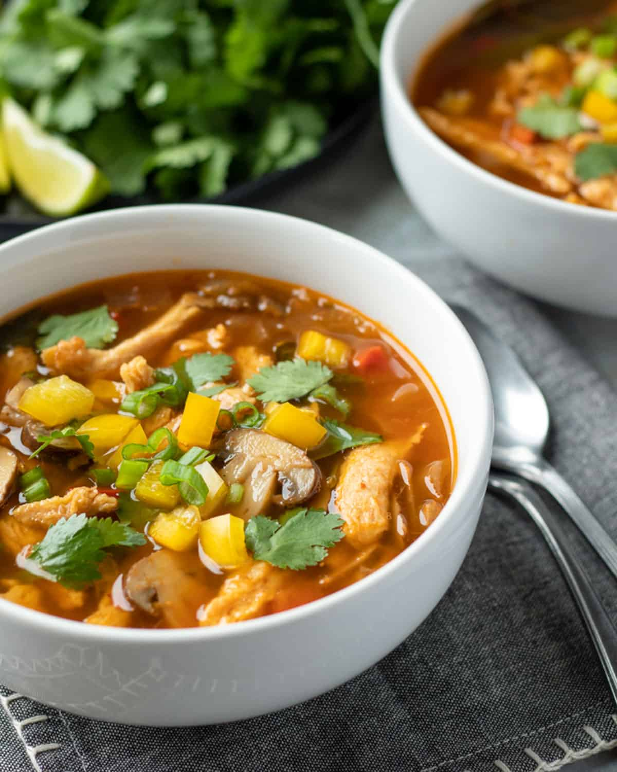 colorful Thai-inspired soup with yellow pepper, mushrooms, and soy curls.